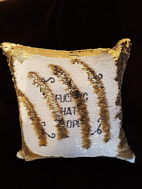 Gold sequin cushion with rude wording