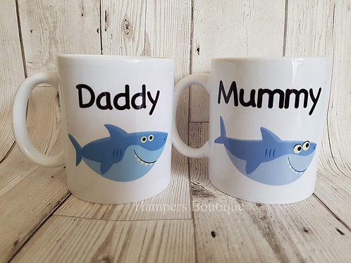 Daddy shark mummy shark mug