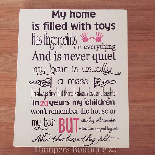 My home is filled with toys plaque