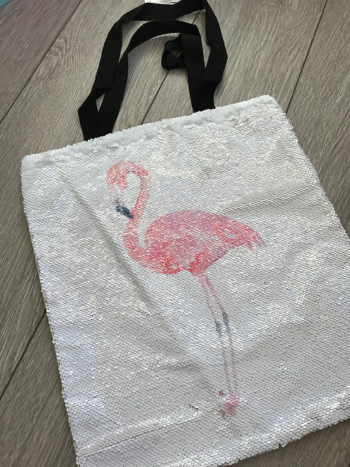 Flamingo sequin tote bag
