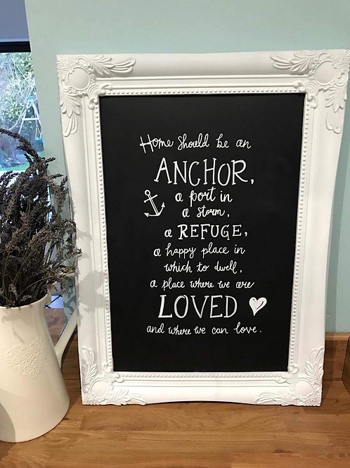 Home should be an anchor chalkboard