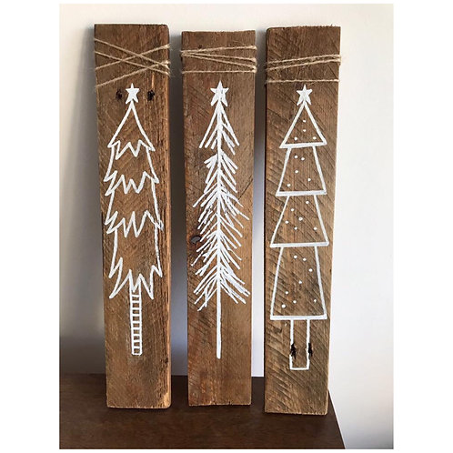 Single Rustic Christmas wooden sign
