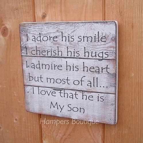 I adore his smile plaque