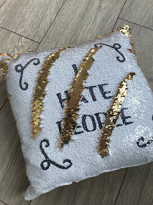 I hate people sequin cushion