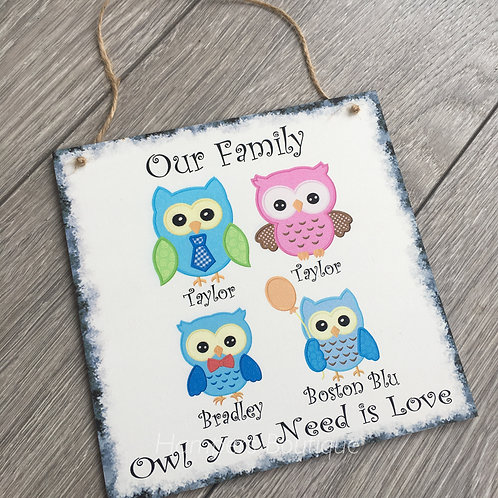Animal design family plaque
