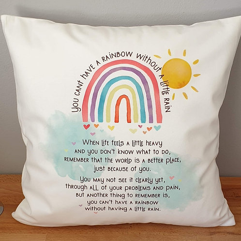 You can't have a rainbow poem cushion