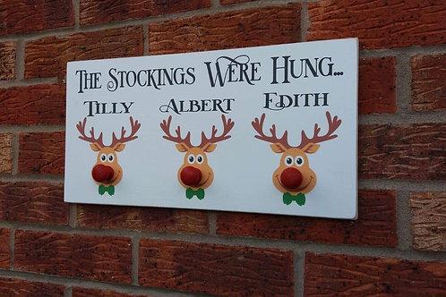 Rudolph stocking plaque