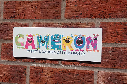 Monster name plaque
