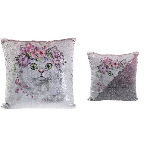 Kitten sequin cushion