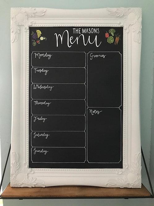 Personalised menu chalkboard