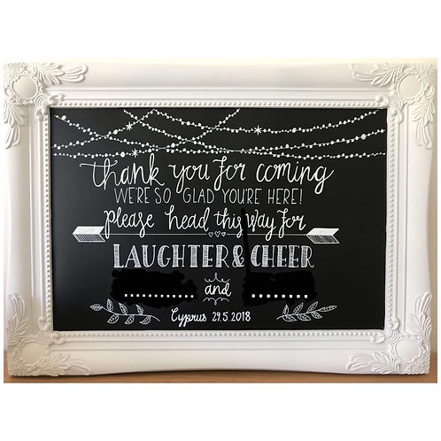 Please head this way for laughter and cheer chalkboard