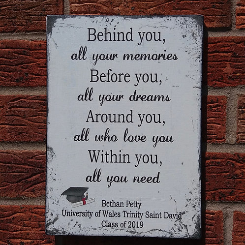 Personalised behind you plaque