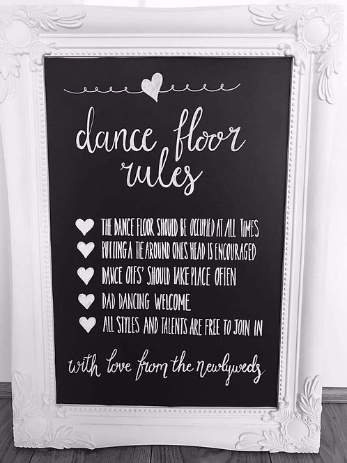 Dance floor rules chalkboard