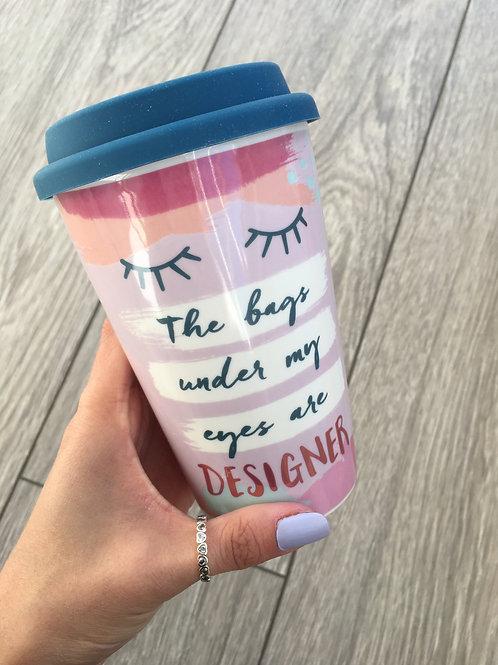 The bags under my eyes travel mug