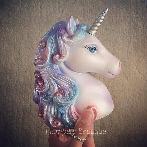 Unicorn head money bank, silver design