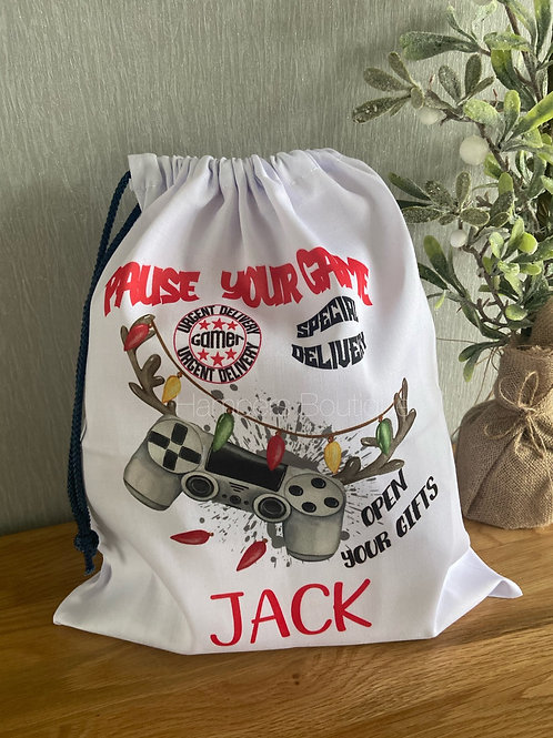 Special delivery pause your game Christmas sack