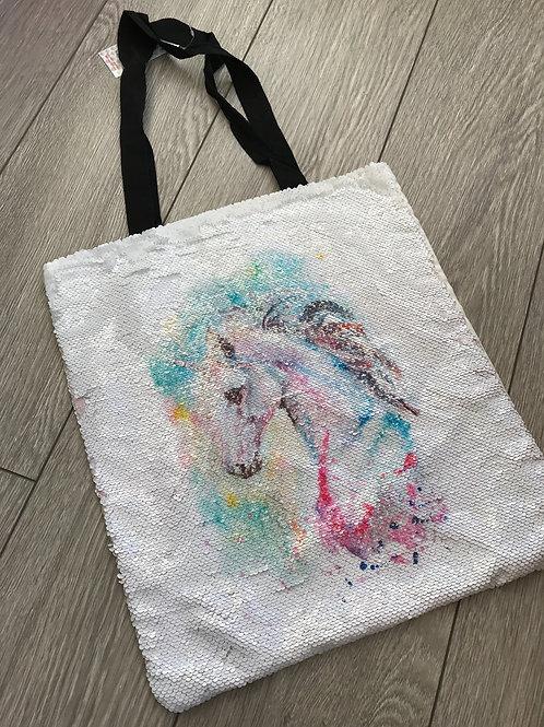 Unicorn sequin tote bag