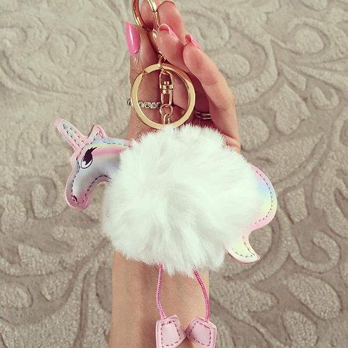 Unicorn Pom Pom keyring