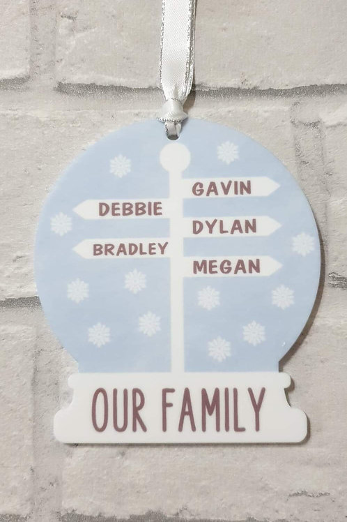 Family Christmas sign post decoration