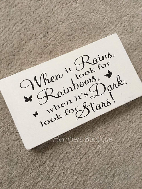 when it rains look for rainbows plaque