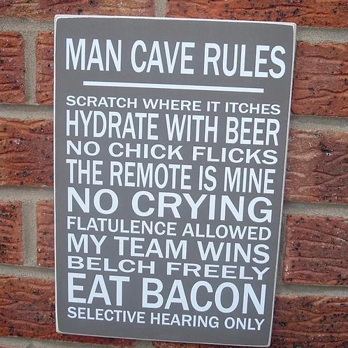 Man cave rules plaque