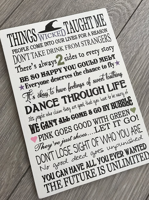 Things that wicked taught me plaque