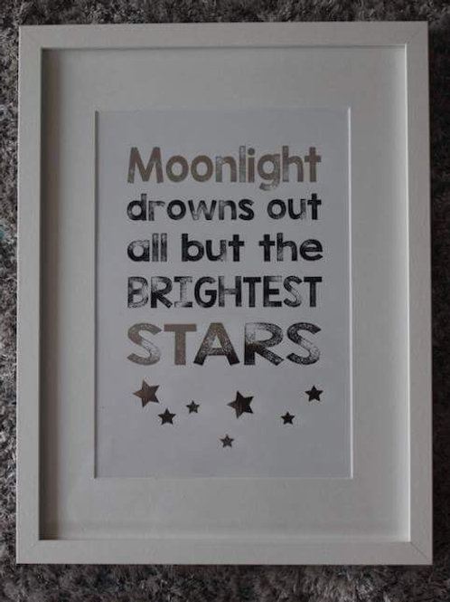 Moonlights drowns out all but the brightest stars print