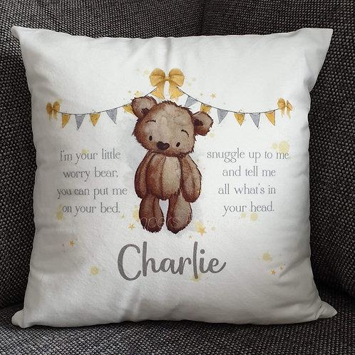 Worry bear cushion