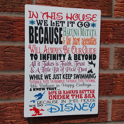 In this house we let it go new plaque