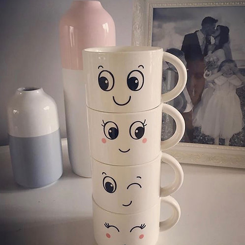 Funny faces stackable mugs