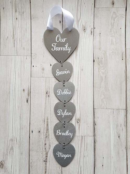 Personalised family hanging hearts