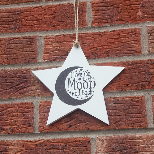 I love you to the moon and back star plaque