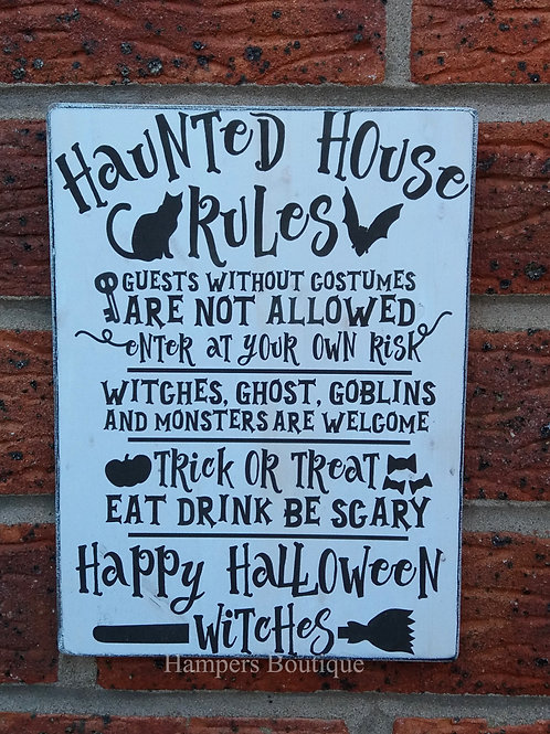 Haunted house rules plaque