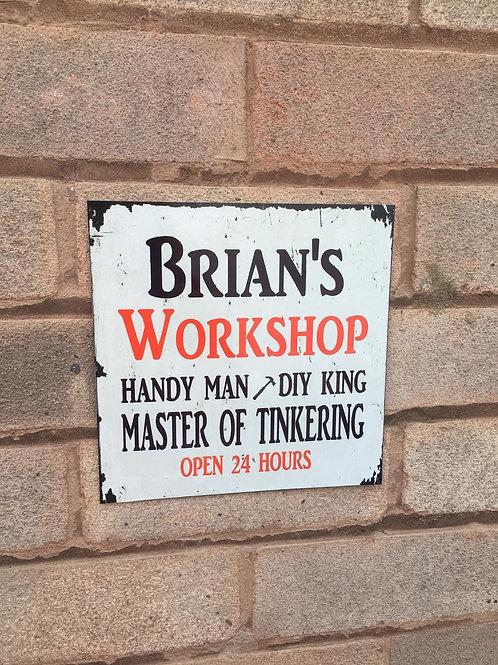 Metal workshop sign