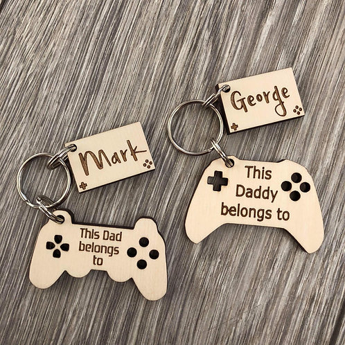 Game controller and name tag keyring set