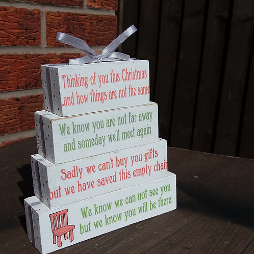 Thinking of you this christmas wooden blocks