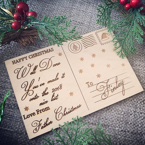 Nice list wooden post card