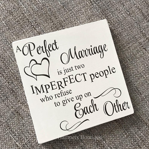 A perfect marriage plaque