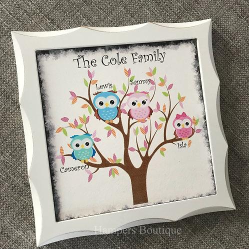 Owl family tree frame