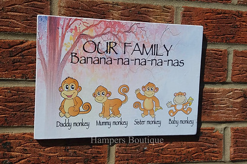 Monkey our family plaque