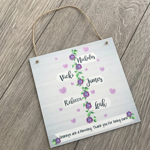 Granny's are a blessing personalised plaque