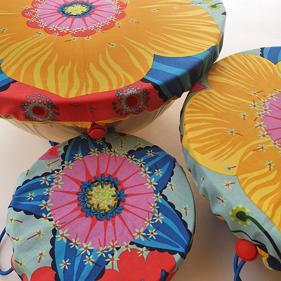 Fabric bowl cover set - yellow flowers