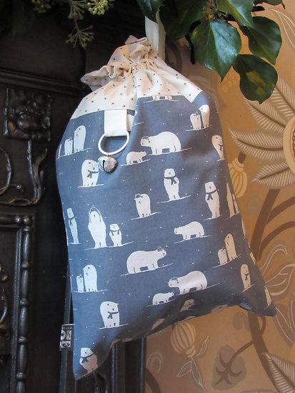 Santa's stocking present sack - grey with cream polar bears
