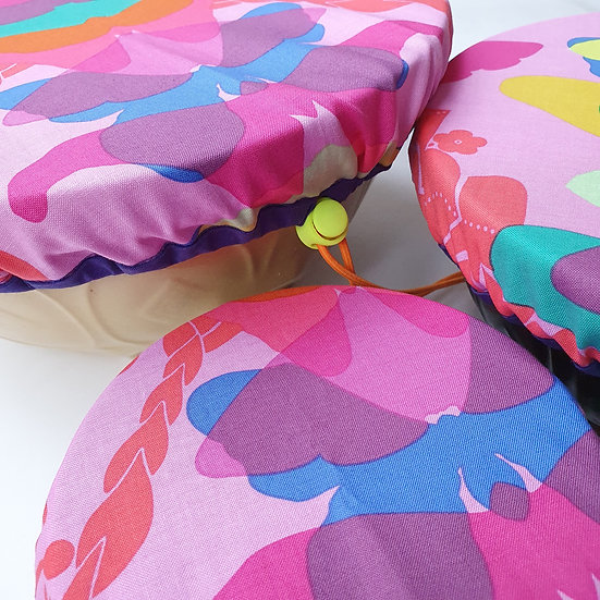 Fabric bowl cover set - pink butterflies
