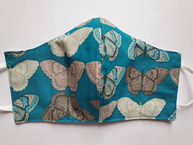 Women/teen's face covering - grey butterflies on turquoise
