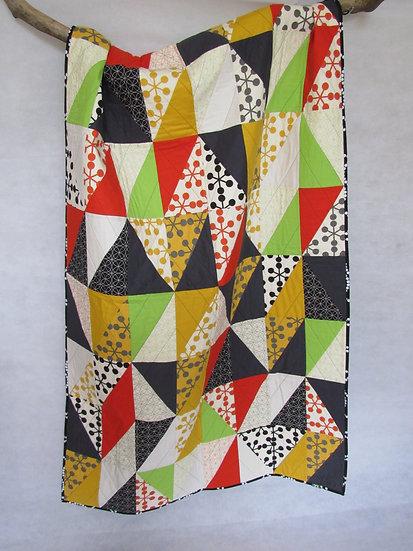 Modern single quilt half rectangles