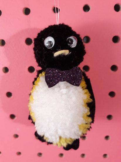 Pom pom penguin - dark purple bow tie
