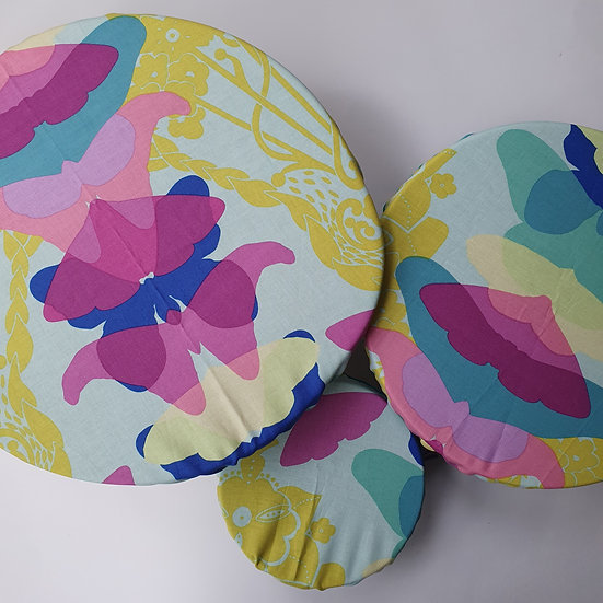 Fabric bowl covers - mint butterflies