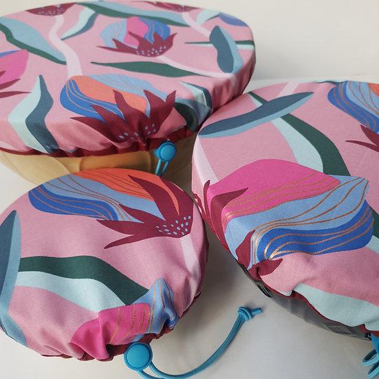 Fabric bowl cover set - Ruby Star burgundy