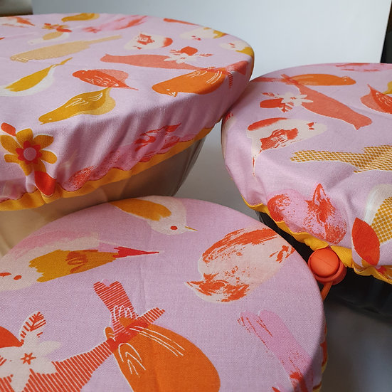 Fabric bowl cover set - budgies